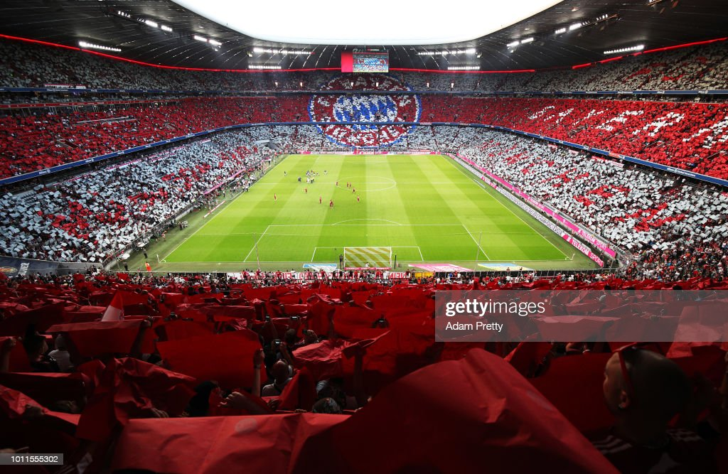 A general view of Allianz arena before the Bayern Muenchen v Manchester United Friendly Match at Allianz Arena on August 5, 2018 in Munich, Germany.