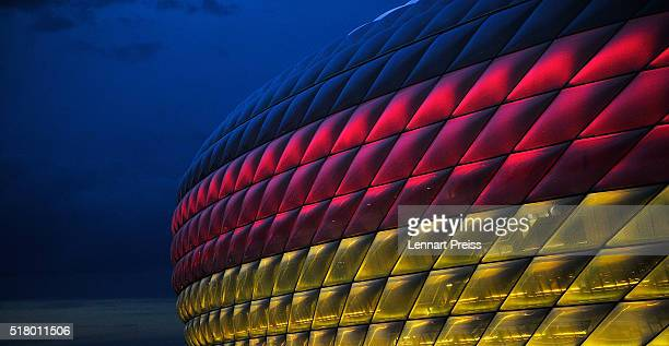 A general view of Allianz Arena lit up in the colours of the German flag before the International Friendly match between Germany and Italy at Allianz...
