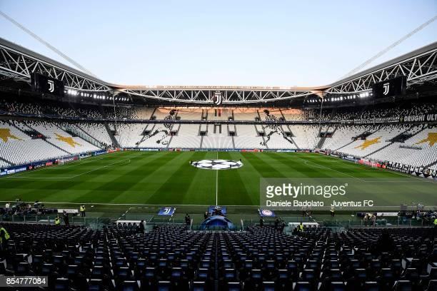 General view of Allianz Stadium ahead the UEFA Champions League group D match between Juventus and Olympiakos Piraeus at Juventus Stadium on...
