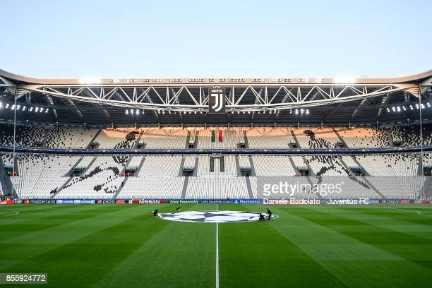 general view of Allianz Stadium before the UEFA Champions League group D match between Juventus and Olympiakos Piraeus at Allianz Stadium on...