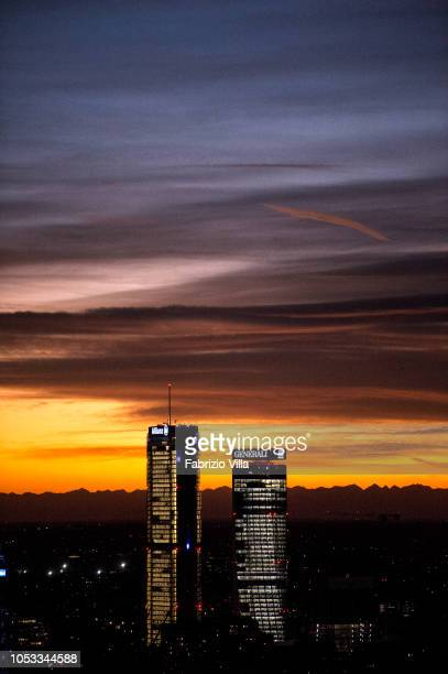 A general view of Allianz tower and Generali tower at sunset on October 24 2018 in Milan Italy The phenomenon is caused by the Föhn a dry wind that...
