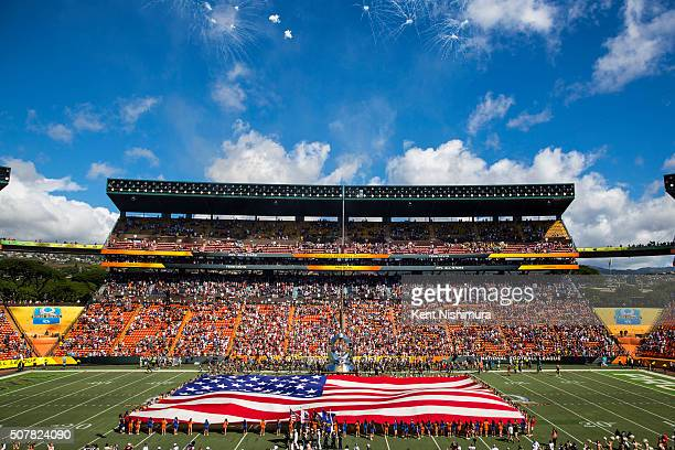 A general view of Aloha Stadium during the sining of the National Anthem before the start of the 2016 NFL Pro Bowl at Aloha Stadium on January 31...