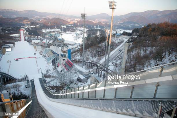 General view of Alpensia Ski Jumping Center during previews ahead of the PyeongChang 2018 Winter Olympic Games at on February 4 2018 in...