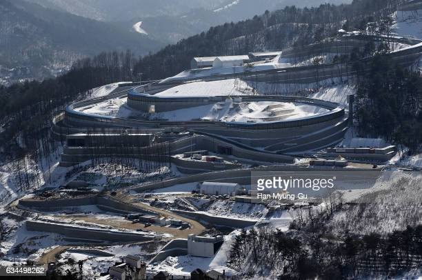 A general view of Alpensia Sliding Centre venue for the Luge Bobsleigh and Skeleton in Alpensia Resort Park is seen during the media tour of the...