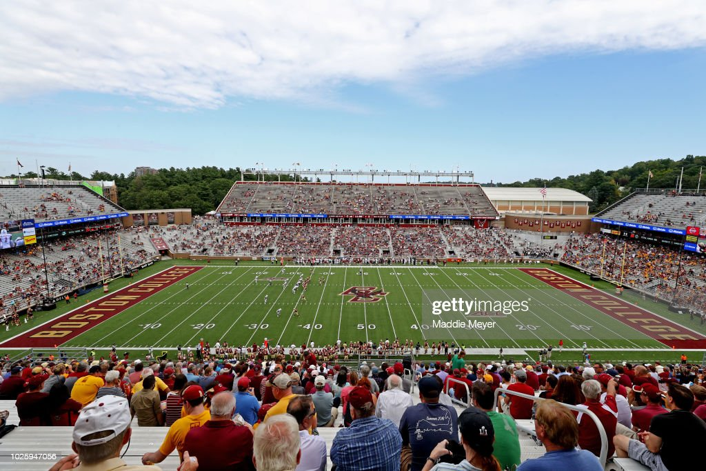 A general view of Alumni Stadium during the game between the Boston College Eagles and the Massachusetts Minutemen on September 1, 2018 in Chestnut Hill, Massachusetts.