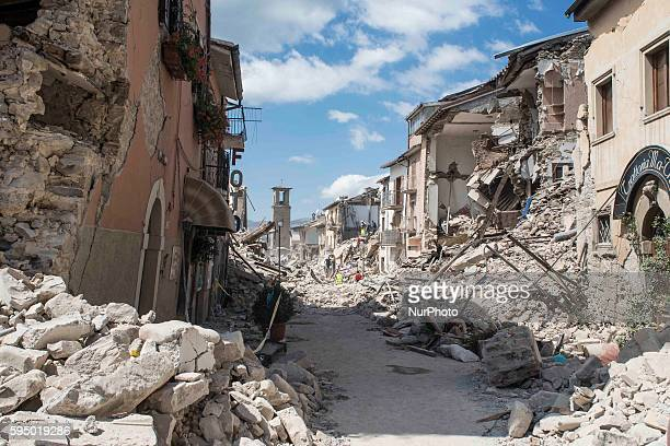 General view of Amatrice on August 24, 2016 after a powerful earthquake rocked central Italy. Central Italy was struck by a powerful, 6.2-magnitude...