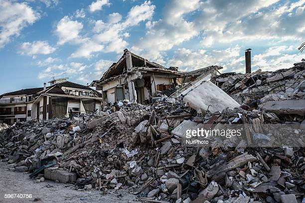 General view of Amatrice on August 26, 2016. Central Italy was struck by a powerful, 6.2-magnitude earthquake in the early hours, which has killed at...