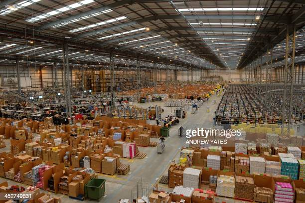 General view of Amazon's Fulfilment Centre is pictured in Peterborough, central England, on November 28, 2013. 'Cyber Monday' which falls this year...