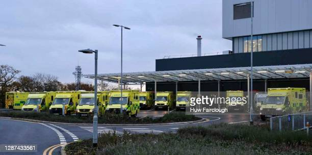 General view of Ambulances parked outside Accident and Emergency unit waiting to transfer patients into the new Hospital on November 24, 2020 in...