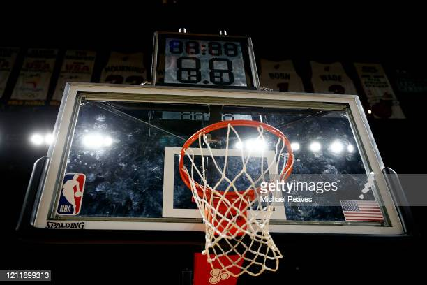 A general view of American Airlines Arena after the game between the Miami Heat and the Charlotte Hornets on March 11 2020 in Miami Florida The NBA...