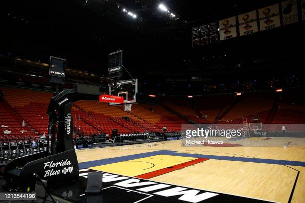 General view of American Airlines Arena after the game between the Miami Heat and the Charlotte Hornets on March 11, 2020 in Miami, Florida. The NBA...