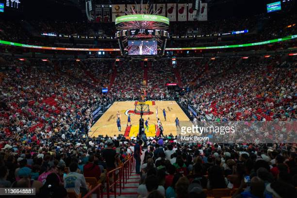 A general view of American Airlines Arena during the game between the Miami Heat and the Charlotte Hornets at American Airlines Arena on March 17...