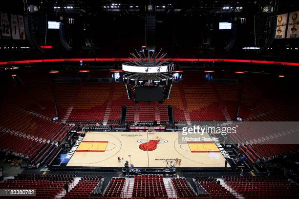 General view of American Airlines Arena prior to the game between the Miami Heat and the Memphis Grizzlies on October 23, 2019 in Miami, Florida....