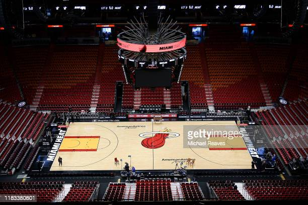 A general view of American Airlines Arena prior to the game between the Miami Heat and the Memphis Grizzlies on October 23 2019 in Miami Florida NOTE...
