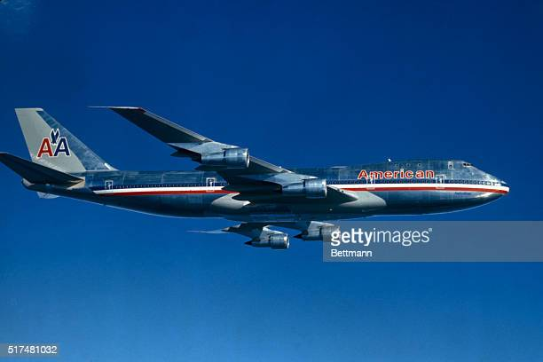 General view of American Airlines Boeing 747 Astrojet in flight