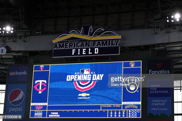 General view of American Family Field on Opening Day prior to a game between the Milwaukee Brewers and the Minnesota Twins on April 01, 2021 in...