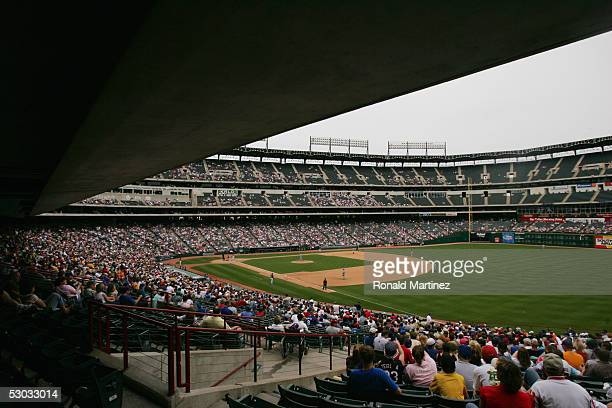 A general view of Ameriquest Field in Arlington is shown during the Texas Rangers game against the Cleveland Indians on May 8 2005 in Arlington Texas...