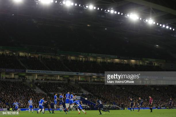 A general view of Amex Stadium as Christian Eriksen of Tottenham Hotspur takes a free kick during the Premier League match between Brighton and Hove...