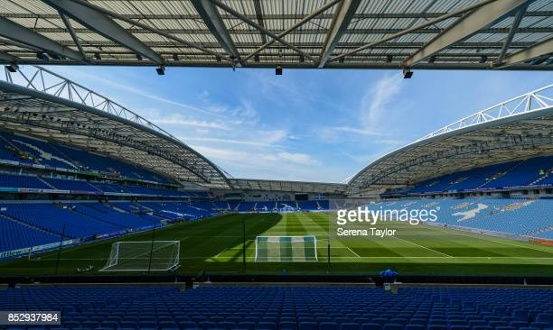 A general view of Amex Stadium before kick off of the Premier League match between Brighton and Hove Albion and Newcastle United at Amex Stadium on...