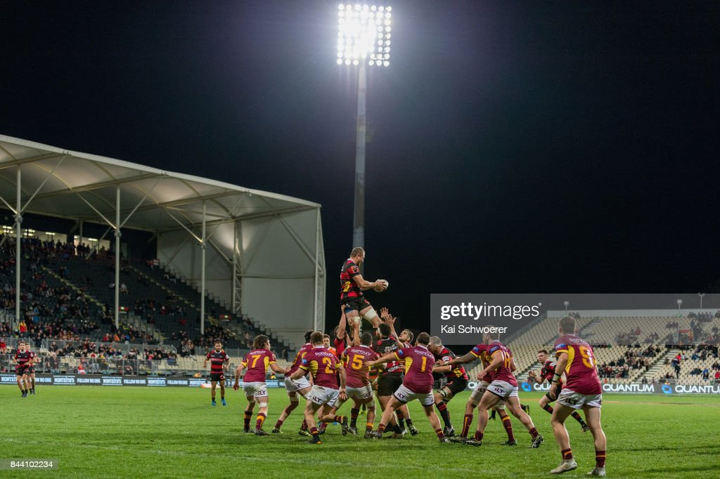 General view of AMI Stadium as Dominic Bird of Canterbury wins a lineout during the Ranfurly Shield round four Mitre 10 Cup match between Canterbury and Southland on September 8, 2017 in Christchurch, New Zealand.