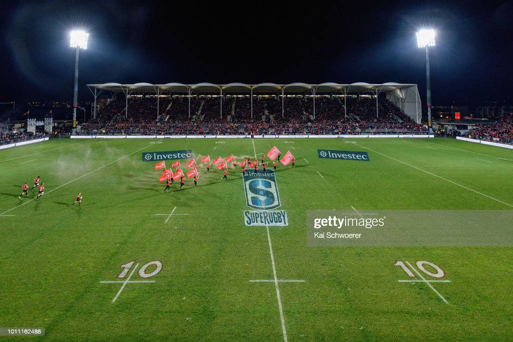 General view of AMI Stadium as the Crusaders run out prior to the Super Rugby Final match between the Crusaders and the Lions at AMI Stadium on August 4, 2018 in Christchurch, New Zealand.