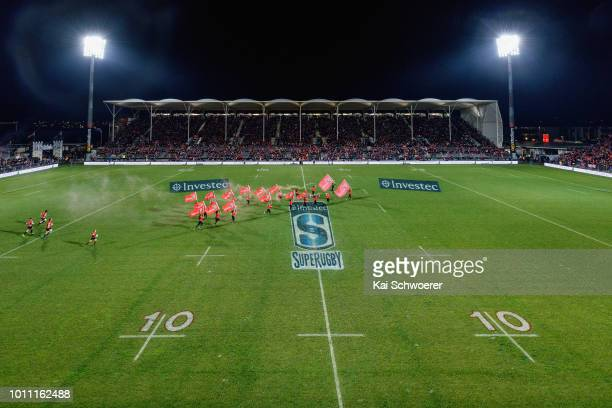 General view of AMI Stadium as the Crusaders run out prior to the Super Rugby Final match between the Crusaders and the Lions at AMI Stadium on...