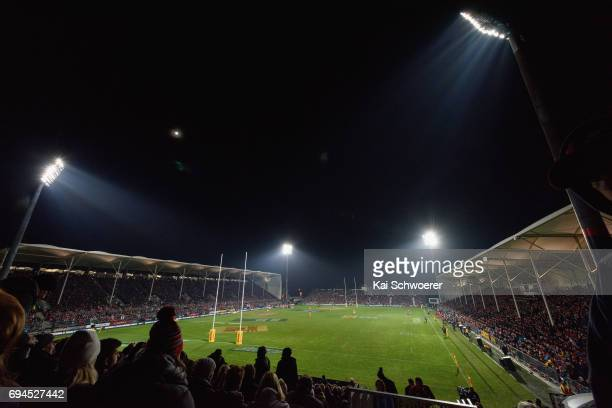 General view of AMI Stadium during the match between the Crusaders and the British Irish Lions at AMI Stadium on June 10 2017 in Christchurch New...