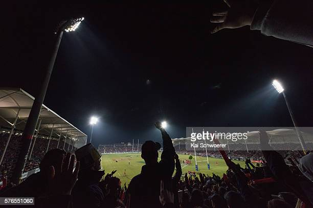 A general view of AMI Stadium during the round 17 Super Rugby match between the Crusaders and the Hurricanes at AMI Stadium on July 16 2016 in...