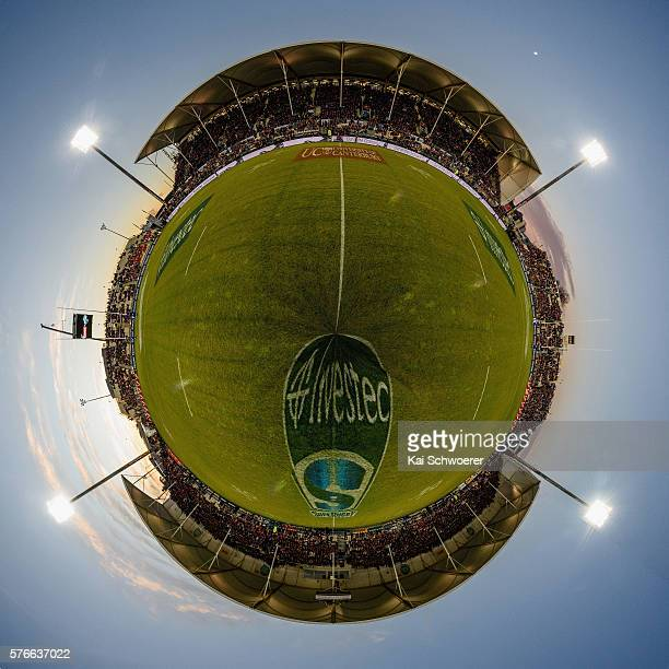 General view of AMI Stadium prior to the round 17 Super Rugby match between the Crusaders and the Hurricanes at AMI Stadium on July 16, 2016 in...