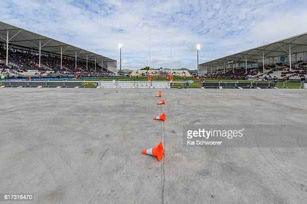 General view of AMI Stadium with temporary stands removed during the Mitre 10 Cup Semi Final match between Canterbury and Counties Manukau on October...