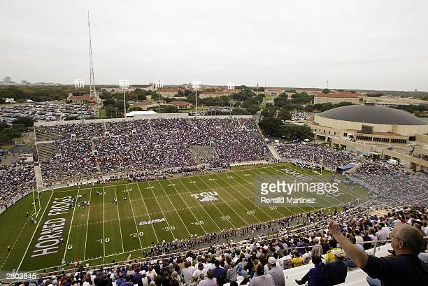 A general view of Amon G Carter Stadium and WA Monty Tex Moncrief Field as the Cincinnati Bearcats take on the Texas Christian University Horned...