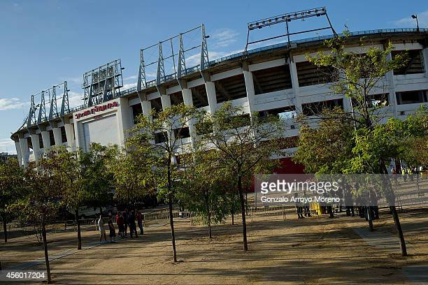 General view of amon Sanchez Pizjuan stadium outdoors the afternoon prior to start during the UEFA Europa League group G match between Sevilla FC and...