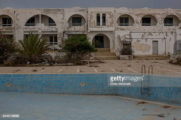 A general view of an abandoned hotel on June 30 2016 in Djerba Tunisia Before the 2011 revolution tourism in Tunisia accounted for approximately 7%...