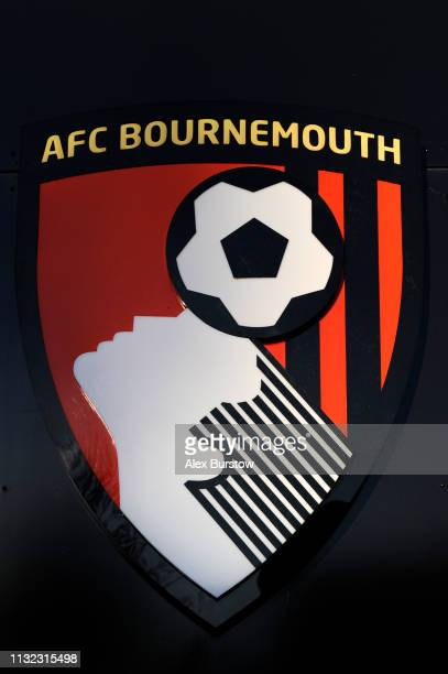 General view of an AFC Bournemouth badge outside the club shop prior to the FA Youth Cup Sixth Round Match between AFC Bournemouth U18 and Manchester...