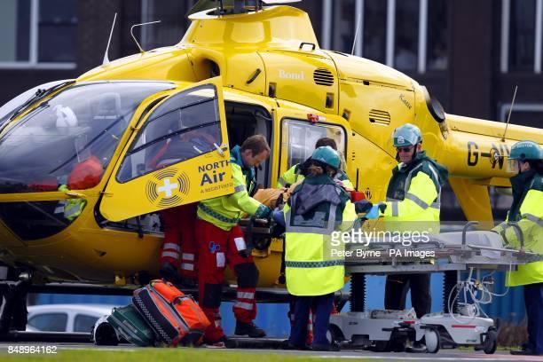 A general view of an Air Ambulance landing at Royal Preston Hospital Preston Lancashire