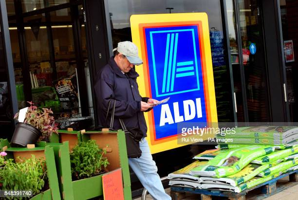 A general view of an Aldi supermarket logo in Swadlincote South Derbyshire