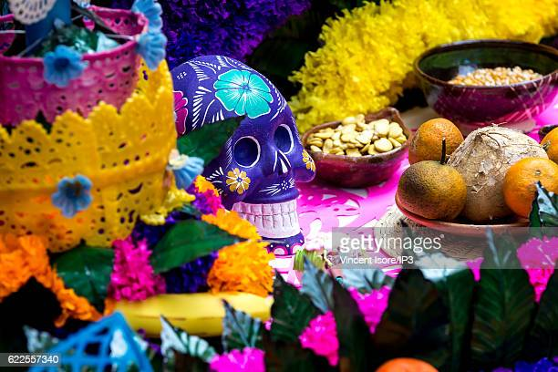 General view of an altar with offering at Frida Kahlo museum during the Day of Dead on October 21 2016 in Mexico City Mexico