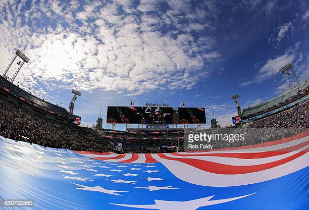 A general view of an American Flag on the field before the game between the Kentucky Wildcats and the Georgia Tech Yellow Jackets at EverBank Field...