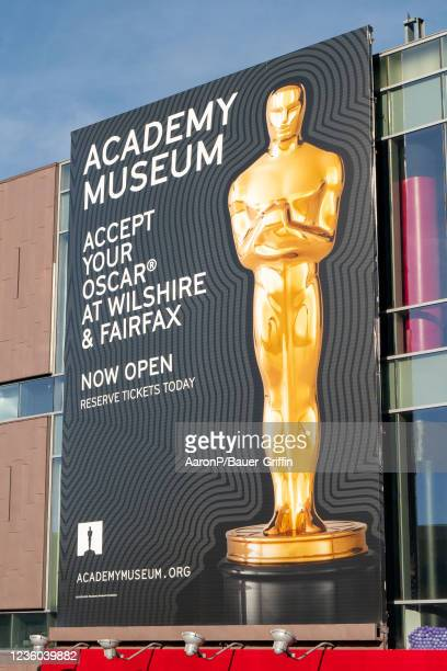 General view of an AMPAS billboard above Hollywood Blvd promoting the new Academy Museum on October 21, 2021 in Hollywood, California.