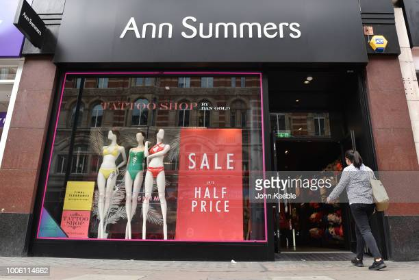 A general view of an Ann Summers store window and entrance on Oxford Street on July 19 2018 in London England