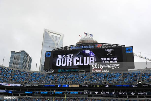 General view of an announcement of the Major League Soccer team coming to Charlotte in 2021 during the game between the New Orleans Saints and...