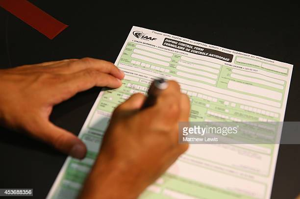A general view of an AntiDoping test procedure during the 22nd European Athletics Championship at Stadium Letzigrund on August 16 2014 in Zurich...