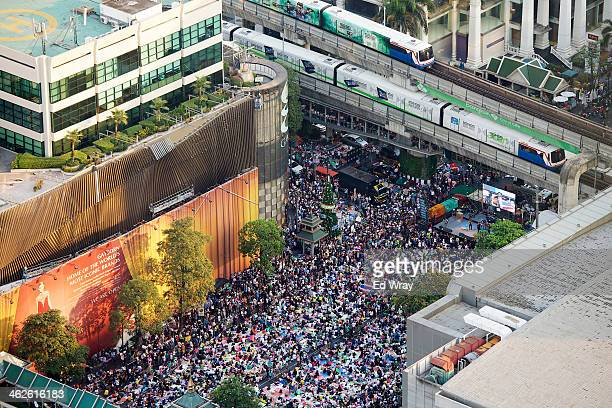 A general view of an antigovernment protest encampment occupying a central intersection on January 14 20134 in Bangkok Thailand More violence and...