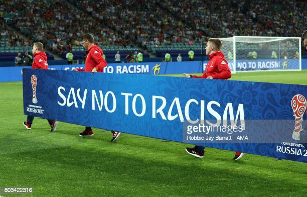 General View of an antiracism board prior to the FIFA Confederations Cup Russia 2017 SemiFinal match between Germany and Mexico at Fisht Olympic...