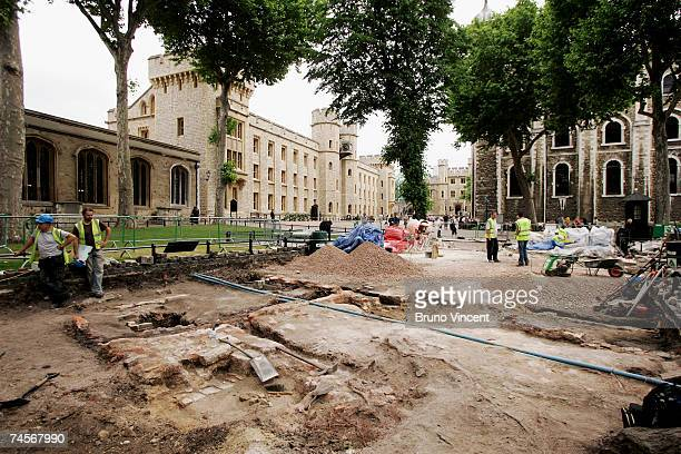 A general view of an archaeological dig in the grounds of the Tower of London on June 12 2007 in London The remains of what appears to be a cellar...