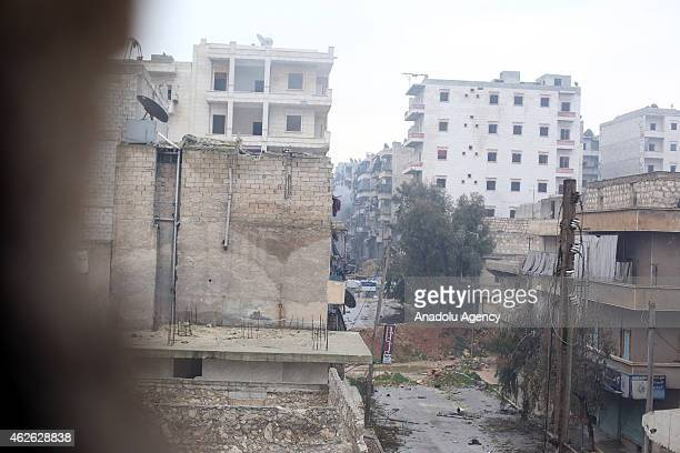 General view of an area of Ashrafieh district during the operation staged by 16th division members of Free Syrian Army with howitzers, made up by...