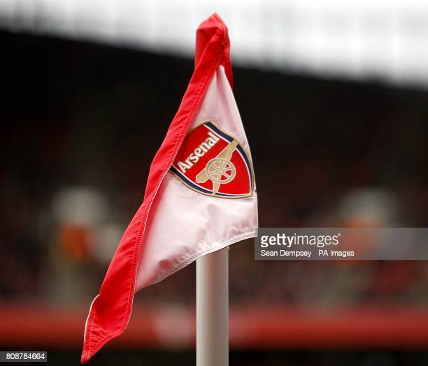 A general view of an Arsenal crest on a corner flag