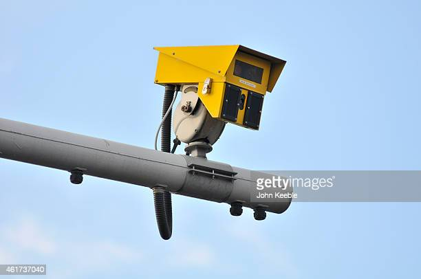 A general view of an average speed camera on the A13 at Canning Town flyover on January 18 2015 in London England