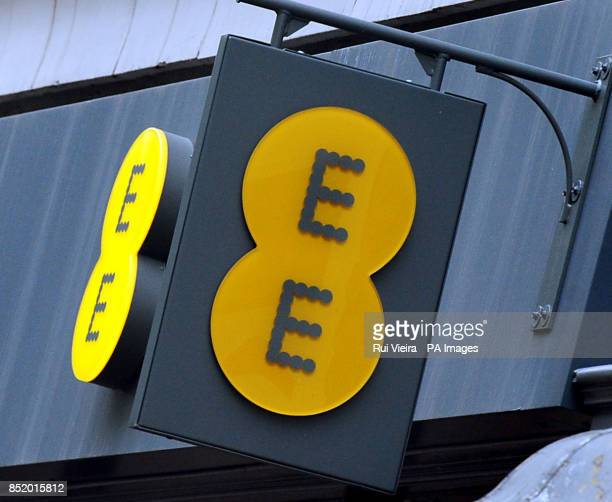 General view of an EE shop and logo in Birmingham