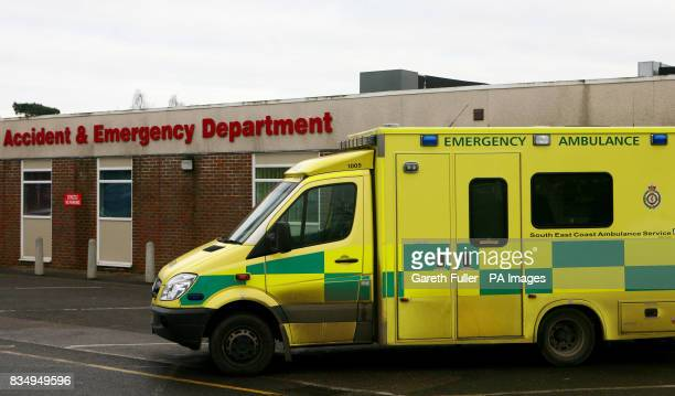 A general view of an emergency ambulance outside the Accident and Emergency Department of the William Harvey Hospital in Ashford Kent